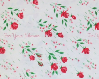 Vintage Norcross For Your Shower - Gift Wrap - Wrapping Paper - RED ROSES - 1950s 1960s