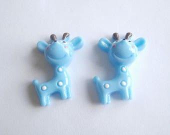 2 embellishments blue giraffe size 2.1 cm X 3 cm