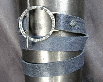 Leather Wrap Bracelet with Hand-Forged Sterling Silver Toggle Clasp (item 119)