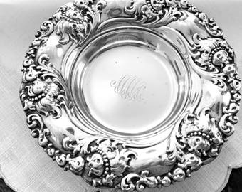 Alvin Sterling Silver Bowl Ornate Victorian Repousse Silver Candy Bowl