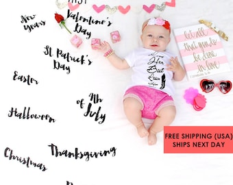 """RTS Baby Milestone Blanket ™ / """"My First"""" USA Holiday / swaddle / anniversary blanket / age blanket / growth blanket / baby shower gift"""