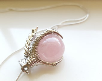 Dragon Claw Pendant- Game of Thrones Necklace-  Rose Quartz  Necklace- Silver Dragon Necklace- Fantasy Necklace
