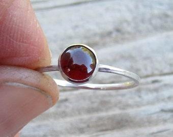 Native American Inspired Garnet Sterling Silver Ring - Size 7