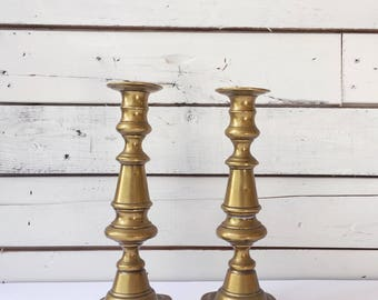 Set of 2 brass candle stick holders | vintage brass