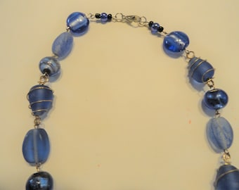 Necklace Blue Acrylic and Glass Beads Some Wired