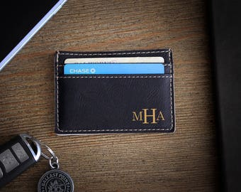 Leather Money Clip, Personalized Money Clip, Leather Wallet, Engraved Money Clip, Groomsmen Gift, Bachelor Party Gifts --LMC-B-MHA