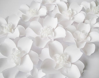 White paper flowers etsy 12 white paper flowers big paper flowers white paper flowers backdrop wall paper flower paper wedding table centerpiece wedding arch mightylinksfo