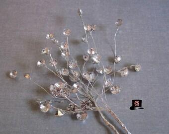 Rhinestone Flower Spray - 2 bundles - wedding - bridal - veil - fascinator