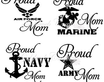 Proud Navy / Army / Air Force / Marine / Coast Guard Mom Car Window Decals