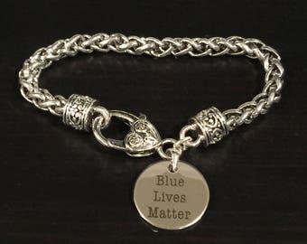 Blue Lives Matter Police Theme Fashion Bracelet