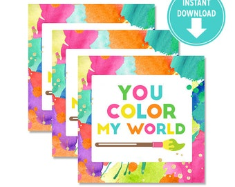 """Printable Neon Art Birthday """"You color my world"""" Party Favor Tags Labels  Art Party decorations [INSTANT Download]"""