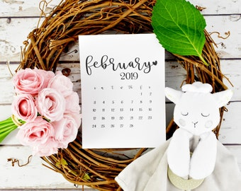 "February 2019 Instant Pregnancy Calendar / 8.5"" x 11"" Instant Download Pregnancy Calendar / Pregnancy reveal"