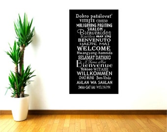 Welcome Wall Decals, welcome decor, Global Greetings, School Office Decor, Welcome languages, Hotel Wall decor, community welcome sign