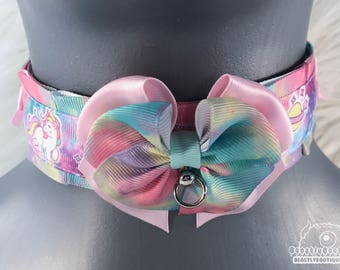 Unicorn Splash Kitten Collar, Kitten Play Collar, Pet Play Collar, Choker, Adult Kitten Play Collar, BDSM Collar