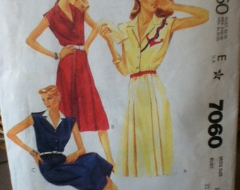 "McCalls Sue Wong Dress Pattern 7060 Size: 8, Bust 31"", Waist 24"", Hip 33"""