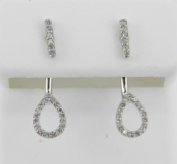 Diamond Earrings Dangle Earrings White Gold Wedding Gift UNIQUE Backing Drop