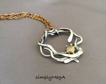 brass Turtle and silver Kelp mixed matal pendant on 18 inch brass cable chain ready to ship