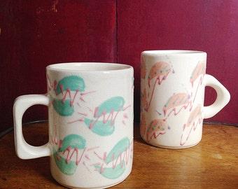 Pair of Vintage 80's, Geometric, Handmade, Ceramic Mugs