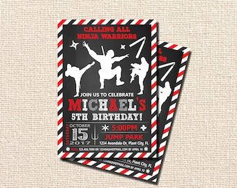 Ninja Invitation, Ninja Birthday Invitation, Ninja Birthday, Karate party invitation, Ninja Birthday Party Invitation, Karate invitation