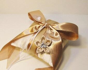 Wedding flower champagne ring bearer pillow -Custom order.