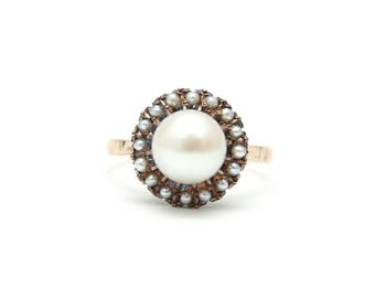 14k Pearl on Pearl Halo Ring