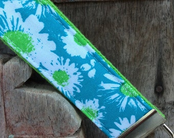 READY TO SHIP-Beautiful Key Fob/Keychain/Wristlet-May Flowers on lime