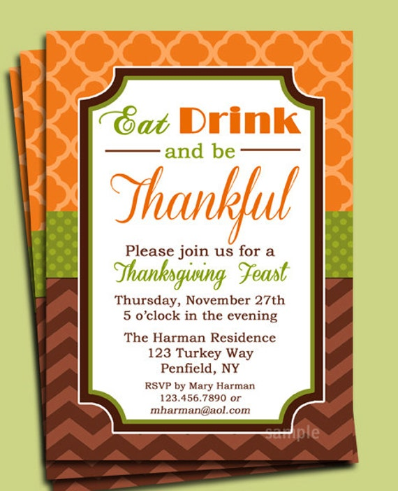 eat drink and be thankful thanksgiving invitation printable