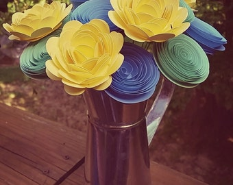 Paper Flower Bouquet - Baby Blue, Mint Green and Light Yellow Roses and Mums- Paper Flower Bouquet for Brides, Weddings, Mother's Day