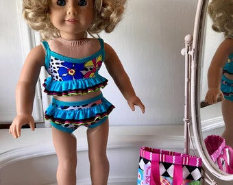 NEW! American Made Two-piece  ruffled Swimsuit/ beach bag and sandals made to fit 18 inch  dolls such as American Girl