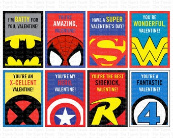 Superhero Valentines | Valentines Card | School Valentines | Printable Valentines Cards | INSTANT DOWNLOAD