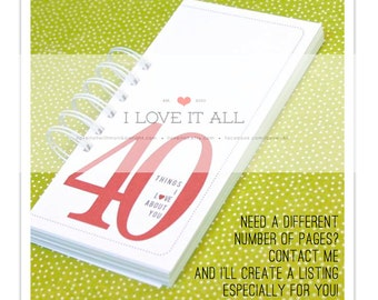 40 30 20 50 Things I Love About You, Birthday, Anniversary Gift, Deployment Gift, Romantic Coupon Book, What I Love About You, Gift for Mom