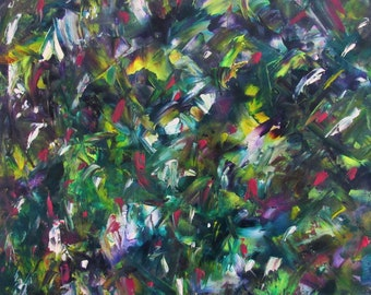 Abstract Green Blue Oil on Canvas
