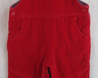 Vintage Red Corduroy Lined Overalls Happy Kids 18 Mo Joyeux Gamins 100% Cotton