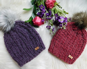 Slouchy women hat. Purple hat for women. RTS hats. Gift ideas for her.