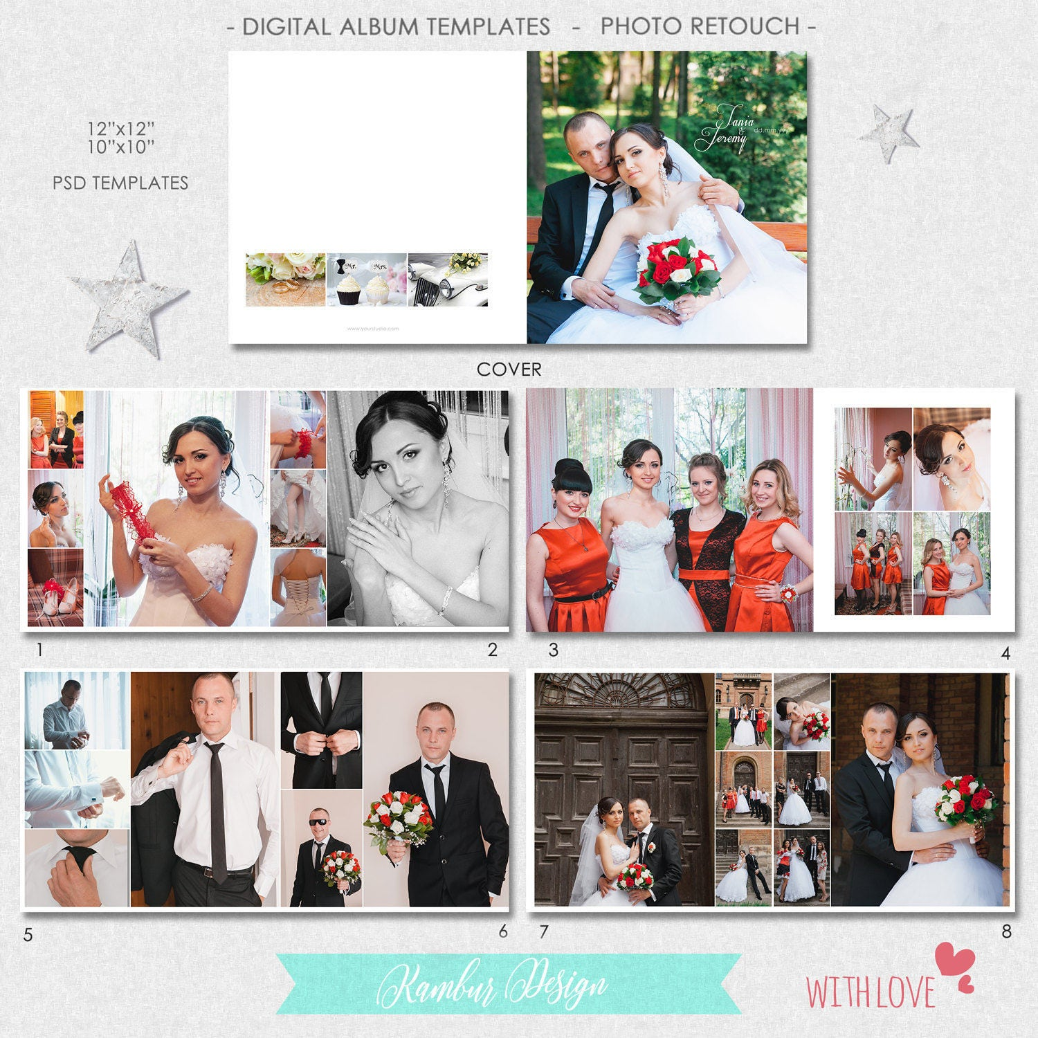 12X12, 10x10 inches, PSD (40 pages), Wedding Album Template, Classic ...