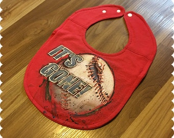 Baseball Baby Bib, Recycled T-Shirt Baby Bib, Baby Shower Baby Boy Gift, Sports Baby, Home Run