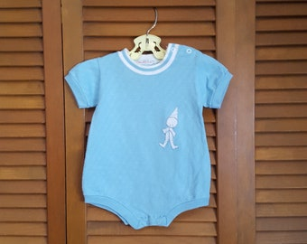 Vintage 1970s Health-tex Infant's Onsie - One Piece Playsuit - Size 6-9 Mo.