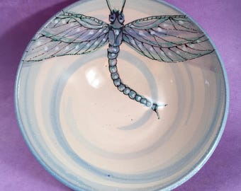 Ceramic Dragonfly Bowl, handmade and handpainted pottery by Nancy Hallmark Pottery
