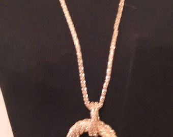 Dramatic Pink Gold Mesh Chain Necklace with Mesh Circle Pendant