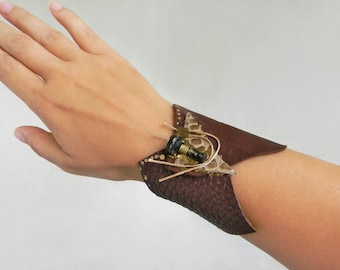 Steampunk leather wrist cuff Brown leather wide bracelet, Steampunk Jewelry Assemblage art jewelry Industrial-Contemporary jewelry Wide cuff