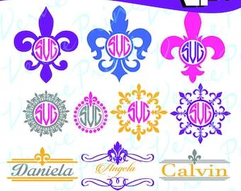 Fleur De Lis  Svg, FleurDeLis Monogram Frames, Svg, Ai, Eps, Pdf, Png Cutting file, Silhouette Clip Art svg Commercial use