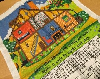 Vintage 1987 Linen Calendar Towel Bless This House