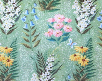 Vintage All-Occasion Gift Wrap - Wrapping Paper - Beautiful FLOWERS with Coordinating GIFT CARD - 1950s