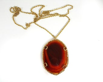 Gold-plated handcrafted necklace with brown agate Pendant
