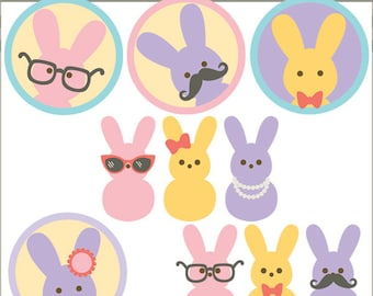 Easter Clipart Marshmallow Bunnies -Personal and Limited Commercial Use- spring clipart, Easter Bunny Clipart