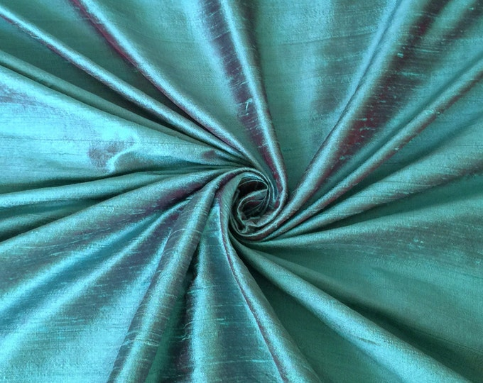 Turquoise Burgundy iridescent 100% Dupioni Silk Fabric Wholesale Roll/ Bolt