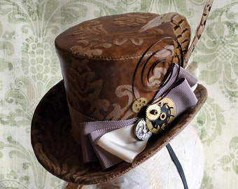 Clockwork Steampunk Mini Top Hat,Brown Neo-Victorian Bridal Hat,Steampunk Fascinator,Steampunk Festival Hat with Gears-Ready to Ship