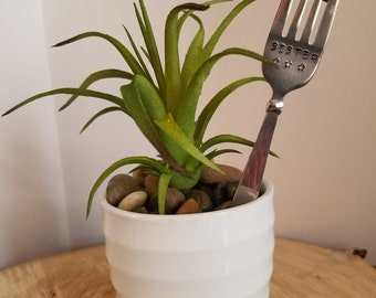 Plant Poke / Potted Plant Accessory / Sister Gift / Hand Stamped Fork / Repurposed Silverware / Upcycled Silverware