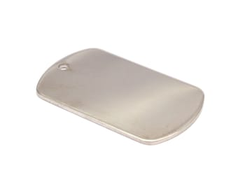 Brass Military Blank, 3 Silver Tone Brass Military Tags (36x22x1.5mm) Y098
