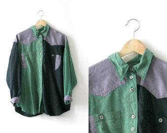 Geometric color block blouse - 1990 - Purple Green and Black